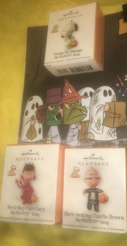 Hallmark Keepsake Miniature Halloween Ornaments Lot /3 2010 Peanuts New