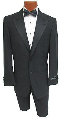 New 40R Mens Black Perry Ellis Tuxedo Jacket Prom Wedding Mason Satin Peak Lapel (Prom Suit)