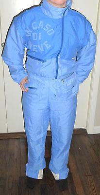 """VINTAGE COLMAR """"IN CASO DI NEVE"""" ITALY MADE BLUE SKI SNOWSUIT W/ FANNY PACK US 6"""
