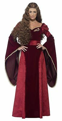 Smiffys Adult Women's Medieval Queen Deluxe Costume, Dress, Belt and Headpiec... (Princess And Queen Halloween Costumes)