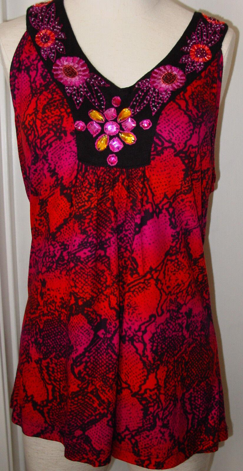 Krista Lee Red Black Coral Sleeveless V-neck Top Embellished Size Large-