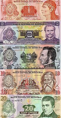 HONDURAS Central America set of 5 1,2,5,10,20 Lempiras 2006-2008 UNC