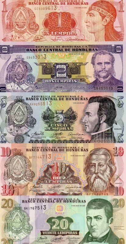 HONDURAS Central America set of 5 1,2,5,10,20 Lempiras 2006-2008 UNC