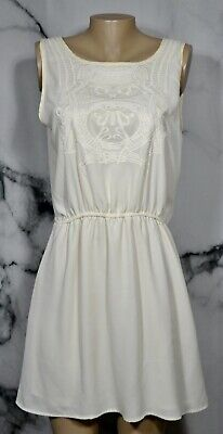 BEST MOUNTAIN Ivory Sleeveless Dress Large Elastic Waist Embellished Front