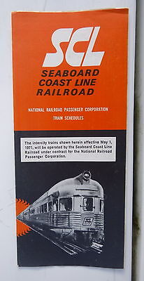 1971 SCL Seaboard Coast Line schedules May 1 National Railroad Passenger Corp