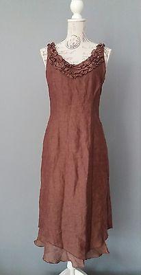 Caroline Leinen (CAROLINE BISS Kleid Dress Robe Vestido Gr. 36 100% Leinen Lagenkleid Leinenkleid)
