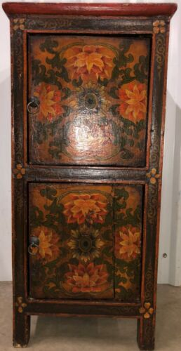 Painted Mongolian Small Night Stand 2 Tiers Doors Lotus Floral Eye Art Decorated