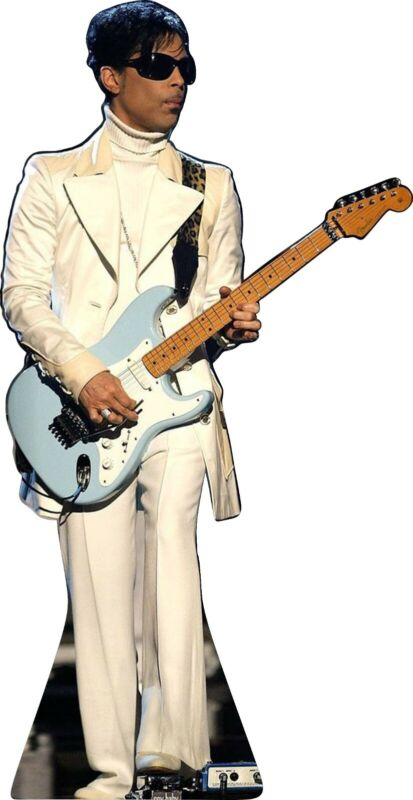 """Prince - White Suit - Blue Guitar 63"""" Tall Life Size Cardboard Cutout Standee"""