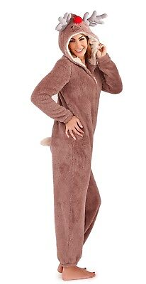 Womens 3D Reindeer Onezee Hooded Dress Up All In One Pyjamas Christmas Gift