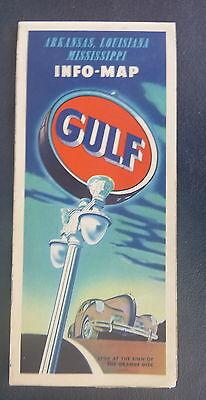 1940 Arkansas Louisiana Mississippi  Road  Map Gulf Oil Gas Southwest Texad
