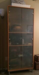 IKEA frosted glass door tall hutch