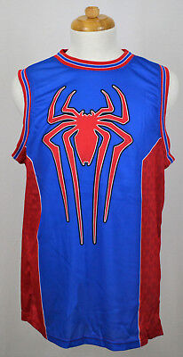 Spider-Man Muscle T-Shirt Marvel Superhero Jersey Graphic Tee Blue Red Trims NWT