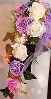 Bridal Bouquet Lilac/cream, Strass, Waterfall, For Wedding Dress, - no data - ebay.co.uk