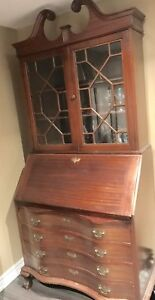 Mohagany Secretary Desk Antique with glass enclosed shelves