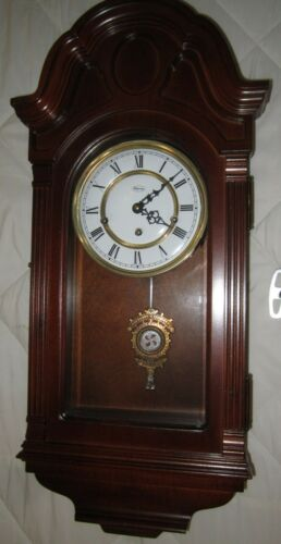 "Antique Ridgeway Key Wind Wall Chime Clock Pendulum-Wood Case 26 1/2"" H."