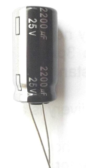 2200uf 25v 105C Panasonic ECA1EHG222  Size 25mmx12.5mm