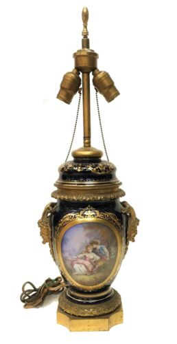 Signed 19th Century French Sevres Hand Painted Porcelain Table Lamp