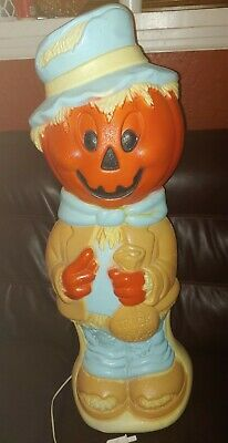 "Vintage 35"" Scarecrow with Pumpkin Head Jack O Lantern Halloween Blow Mold"