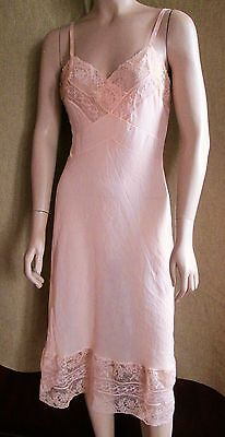 """VINTAGE 60s 70s SHEER NYLON FULL SLIP SILKY EXQUISITE LACE SIZE 36"""" BUST CONLOWE"""