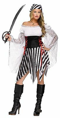 Womens Pirate Buccaneer Costume Halter Fancy Dress Striped Halloween Adult S M L (Striped Dress Costume)