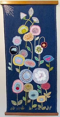 Mid Century Scandinavian Style Fiber Art Floral Wall Hanging by Helen Edwards