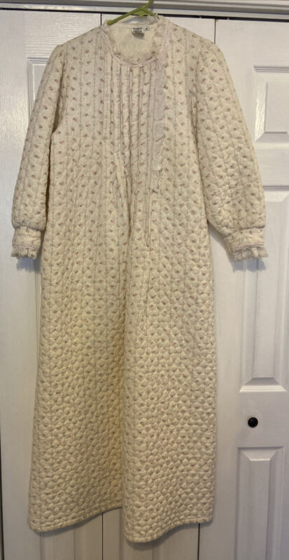 Donna Richard for Gilligan O'Malley VTG Quilted House Coat SZ Mediu
