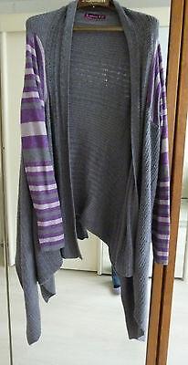long gilet asymétrique état neuf gris foncé+clair+1 peu d mauve laine-cashmere