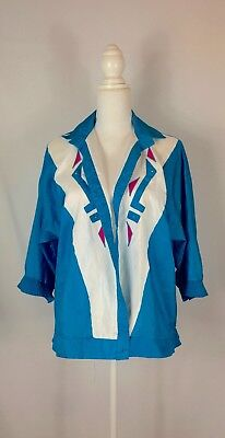 Park Place Vintage 80s Blue and White Wind Breaker Jacket w ruffled cuff Sz M  (Costumes Places)