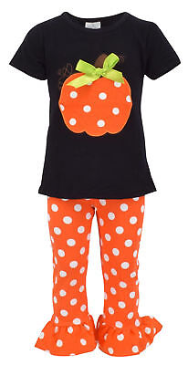 Girls Fall Fashion Halloween Pumpkin Outfit Boutique Toddler Kids Clothes Pants
