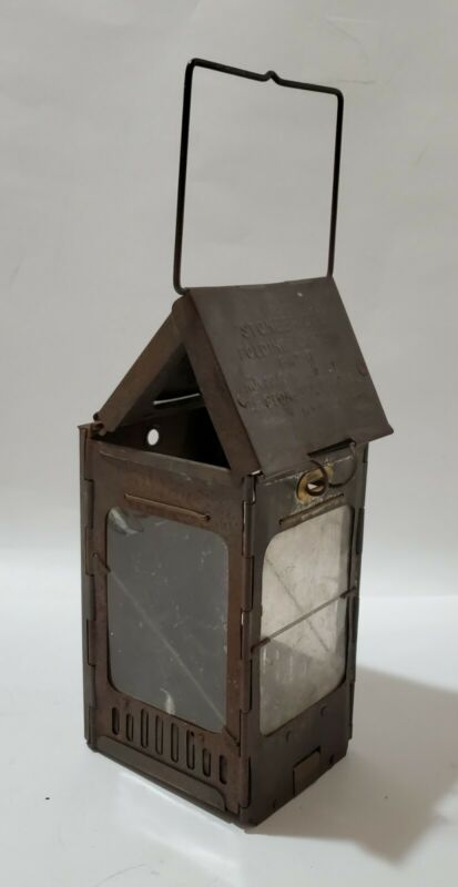 Antique Stonebridge Tin Folding Candle Lantern WWI Pat