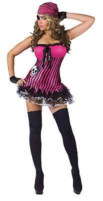 Rockin' Skull Pirate Adult Women's Sexy Costume Hot Pink Mini Dress Funworld - Hot Pirate Costumes