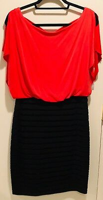 NWOT~ SANGRIA Dress Pleated Skirt Flutter Sleeve Lined Red/Black SZ14 Open Back Pleated Flutter Sleeve Dress