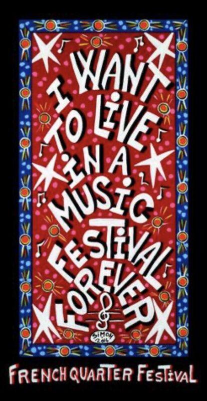 2014 French Quarter Festival Poster SIGNED By Simon Hardeveld
