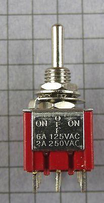 Switch:Mini Toggle, 3PDT, 3 Position, ON-OFF-ON, 125V 6A, 250V 2A :Lot of 2