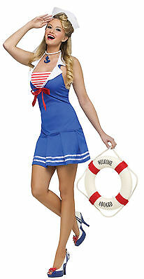 Sailor Blue Dress Sexy Navy Girl Uniform Costume for Halloween Party Size: M/L - Sailors Halloween Costumes