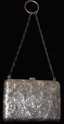 Amazing Antique STERLING *Chatelaine* Compact Purse GORGEOUS Leather Interior