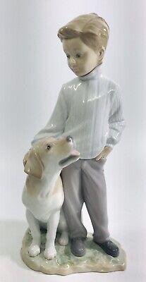 LLadro 6902 My Loyal Friend Figurine *Signed* Boy petting Labrador dog.*Mint*