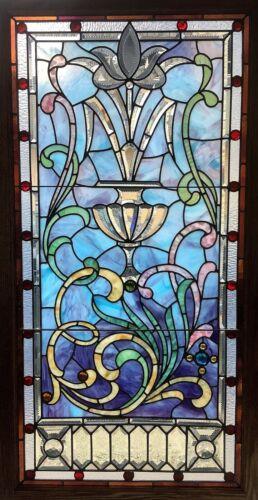 Antique Victorian c1890 Landing Window Restored Beveled Pieces Chicago Salvage