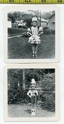 (2) Vintage 1950's photos / Little Girl in MARCHING BAND UNIFORM Parade Costumes