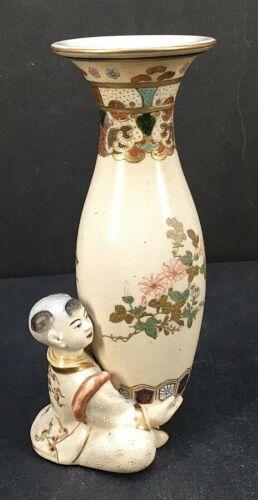 Sculptural Japanese Meiji Satuma Vase - Boy With Vase