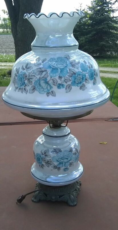 """Hurricane Lamp Vintage Blue 3 way lighting Gone With The Wind Light 25.5"""" tall"""