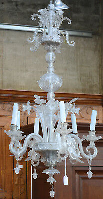 Huge antique Murano venetian hand blown 2 tier level chandelier clear glass