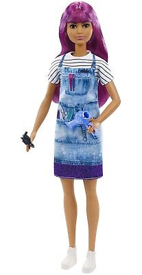 Barbie You Can Be Anything SALON STYLIST Purple Hair Dresser CAREER DOLL Dryer