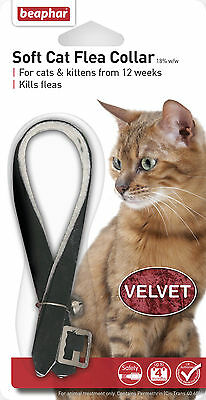 Beaphar Velvet Soft Cat Flea Collar 4 Month Protection 3 Colours With Bell 17805 4 Month Cat Flea Collar