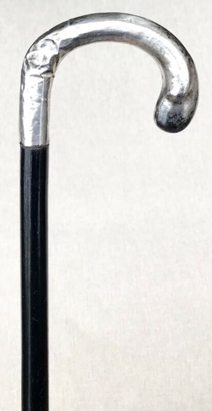 Vintage Antique 19C Continental Sterling Silver Crook Handle Walking Stick Cane