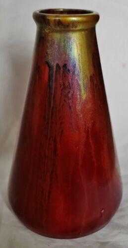 Zsolnay Eosin Vase Exceptional Red/Multi-Color Iridescent Metallic Drip Glaze
