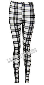 O37 NEW WOMENS CHECK TARTAN PRINT LADIES FULL LENGTH FUNKY LEGGINGS IN 08-14