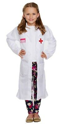 Girls Doctors Coat Fancy Dress Up Costume Hospital Nurse Outfit Ages 4-9 yrs NEW