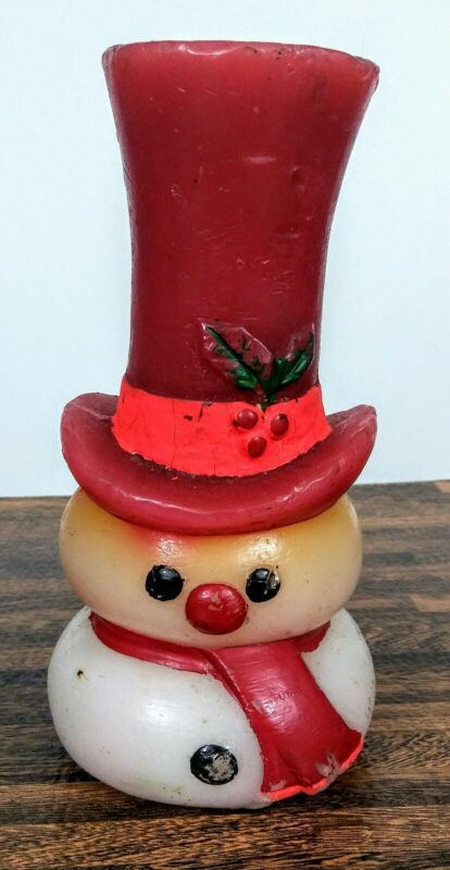 Vintage Hallmark Christmas Snowman Wax Candle  8