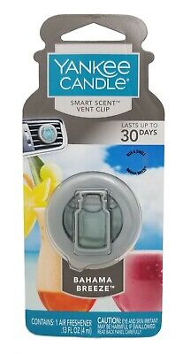 Yankee Candle Bahama Breeze Smart Scent Vent Clip Air Freshener / NEW